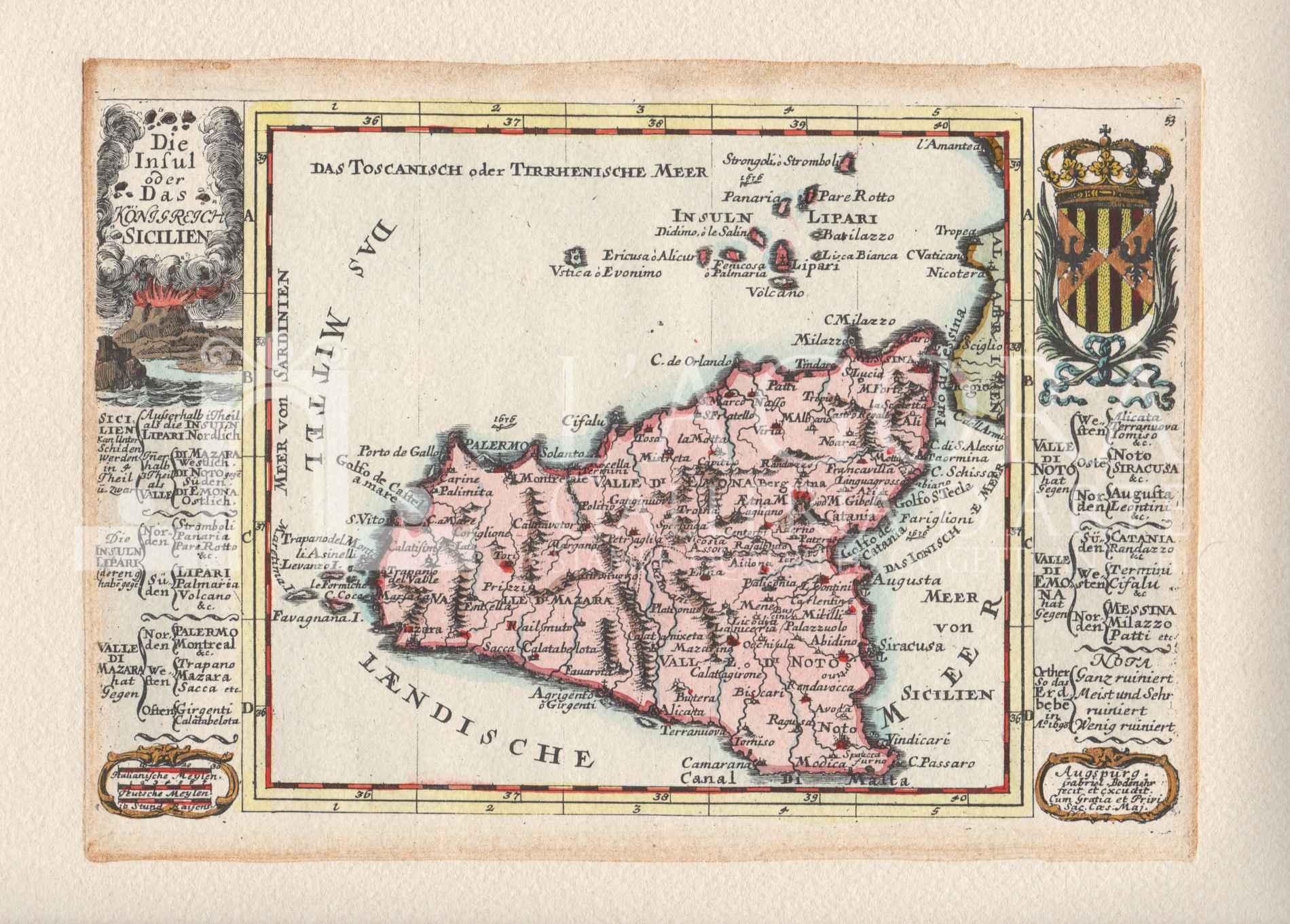 Cartina Sicilia Antica.Mappa Sicilia Gabriel Bodenehr Galleria D Arte L Agora Taormina