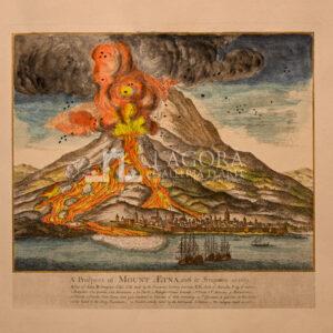 Etna in eruzione 1669 su carta cotone (repro)