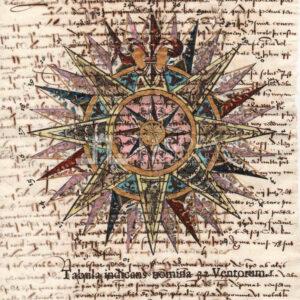 Rosa dei venti su carta manoscritta
