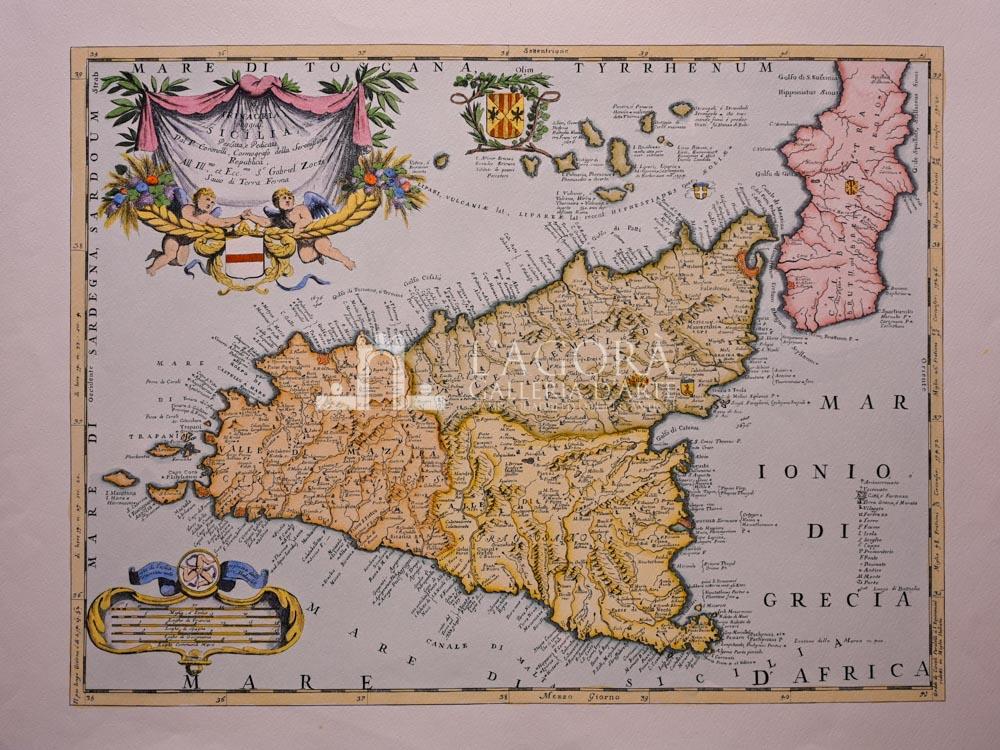 Cartina Sicilia Antica.Mappa Sicilia Di Vincenzo Coronelli Galleria D Arte L Agora Taormina