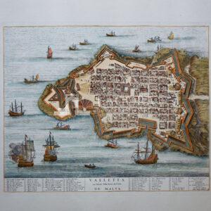 Veduta a volo d'Uccello della Città di Valletta Joan Blaeu 1705