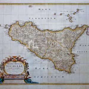 Mappa Sicilia Homann (eredi) 1747