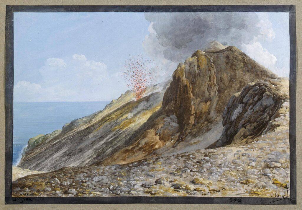 Gouache dello Stromboli in eruzioni