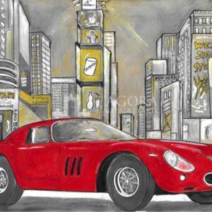 Vintage Sketches Ferrari 250 GTO a Time Square New York – Giuseppe Bacci